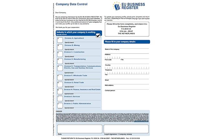 Das Schreiben des EU-Business Registers.