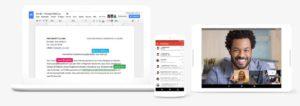 Dokumente bearbeiten, E-Mails versenden und mit Kollegen chatten: Das und mehr bietet Googles G Suite. (Bild: Google/Screenshot)