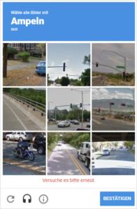 reCAPTCHA lässt Benutzer Ampeln zuordnen