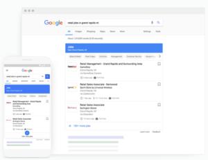 Google-Suchmaschine zeigt die Ergebnisse von Google for Jobs Deutschland in der mobilen Ansicht und auf dem Desktop. (Bild: Screenshot)