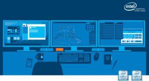 Zu sehen ist die grafische Darstellung eines PC-Arbeitsplatzes. Dazu gehören drei Bildschirme, Tastatur, Maus, eine Teetasse, ein Handy, ein Notizblock und ein Stift. Alles ist in Blautönen gehalten, nur der NUC Mini-PC hebt sich in orange ab. Bild: Intel