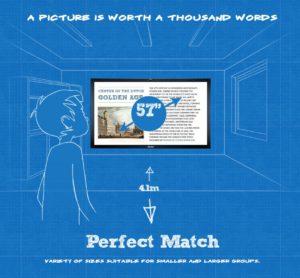 Zu sehen ist die grafische Darstellung eines Klassenzimmers, in der ein Junge auf einen iiyama-Bildschirm schaut. Bild: www.iiyama4edu.com