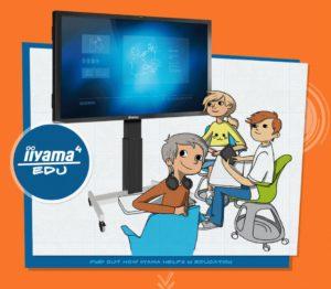 Zu sehen sind ein realer interaktiver Bildschirm von iiyama und drei grafisch dargestellte Schüler, die mit Tablet und Kopfhörer damit arbeiten. Bild: www.iiyama4edu.com