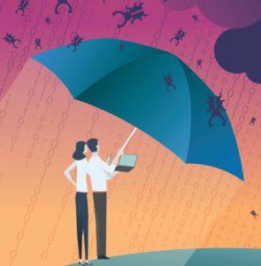 Zu sehen ist eine Grafik von einem Mann und einer Frau mit Handy und Laptop, die unter einem Regenschirm stehen und vor herunterregnender Malware geschützt sind. Es ist das Titelbild der Publikation acatech Horizonte. Bild: Screenshot