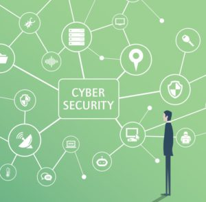 Zu sehen ist eine grafische Darstellung der acatech, in der ein Mann vor einem Netz verschiedener Maschinen und Gegenstände steht, die sich um den Begriff Cyber Security verteilen. Bild: Screenshot Acatech