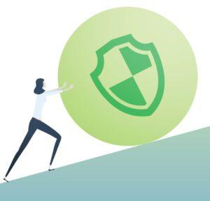 Zu sehen ist eine Grafik der acatech, in der eine Frau eine große Kugel mit einem Symbol für Cyber Security darauf einen Berg hinaufrollt. Bild: Screenshot acatech