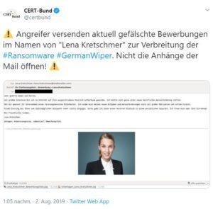 Zu sehen ist der Screenshot eines Twitter-Beitrags von CERT-Bund. Darin wird vor der Ransomware GermanWiper gewarnt. Bild: Screenshot