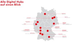 Digital Hub: die Karte zeigt die zwölf Standorte in Deutschland. Foto: Screenshot des Bundeswirtschaftsministeriums www.de-hub.de
