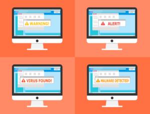 Zu sehen ist eine Grafik, die in vier Rechtecke mit jeweils einem Computerbildschirm eingeteilt ist. Alle Bildschirme zeigen einen Malware-Befall an – zum Beispiel durch Ordinypt Wiper. Bild: www.pixabay.com / 200 Degrees