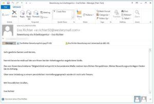 Zu sehen ist ein Mailprogramm mit einer geöffneten Bewerbungsmail; in ihrem Anhang versteckt sich Ordinypt Wiper. Bild: Bleeping Computer