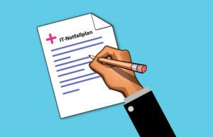 Zu sehen ist der Arm eines Geschäftsmanns; er hält mit einem Stift wichtige Punkte für das IT-Notfallhandbuch fest. Bild: Pixabay/Mohamed Hassan