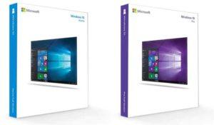 Das Bild zeigt zwei Windows 10-Produkte: Windown 10 Home und Windows 10 Pro. Beide gehören zu den betroffenen Microsoft-Lizenzen, die gerne illegal veräußert werden. Bild: Screenshot Microsoft / Collage IT-SERVICE.NETWORK