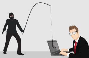 Das Bild zeigt eine Illustration eines Mannes am Bildschirm. Ein Dieb wirf eine Angelschnur auf seinen Laptop, um das 2FA-Phishing zu verdeutlichen. Bild: Pixabay, Tumisu