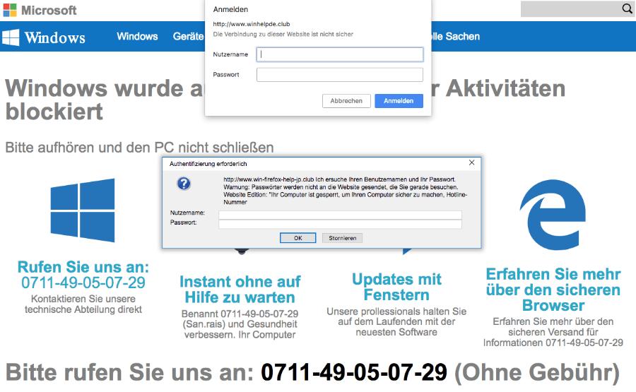 Microsoft Warnung