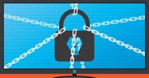 Das Bild zeigt einen Computer, auf dem ein Schloss mit Ketten gesichert ist. Es verdeutlicht einen Ransomware-Angriff. Bild: Pixabay/katielwhite91