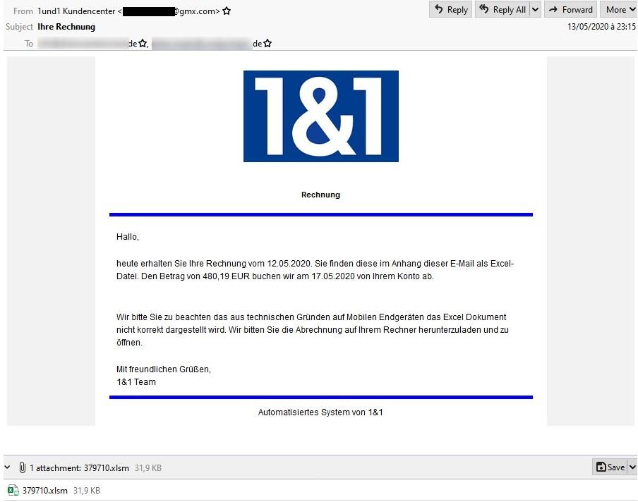 Zu sehen ist eine E-Mail, über die die Hakbit-Ransomware verbreitet wird. Bild: Proofpoint