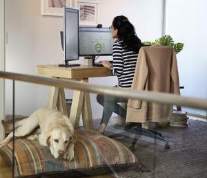 Eine Frau arbeitet im Home Office und ist dank Modern-Workplace-Bundle perfekt für Remote Work ausgestattet. Bild: Microsoft