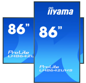 Zu sehen sind zwei Digital-Signage-Displays der 42er Serie von iiyama in Hochformat und Querformat. Bild: iiyama