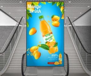 Zu sehen ist Digital Signage mit Werbung für einen Mango-Dring an einer Rolltreppe. Bild: iiyama