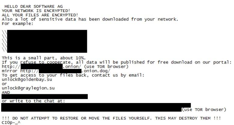 Zu sehen ist die Notiz, die die Erpressergruppe Clop bei der Software AG hinterließ. Bild: ZDNet