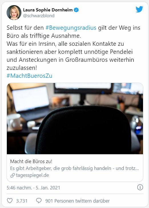 Screenshot des Twitter-Posts von Laura Sophie Dornheim mit #MachtBuerosZu. Bild: Screenshot Twitter