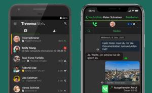 Zu sehen sind zwei Handys, auf denen die App Threema Work aufgerufen ist. Bild: Threema / IT-SERVICE.NETWORK