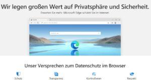 Zu sehen ist ein Screenshot der Produktseite von Microsoft Edge. Es geht um die Frage: Welcher Browser ist der sicherste? Bild: Screenshot