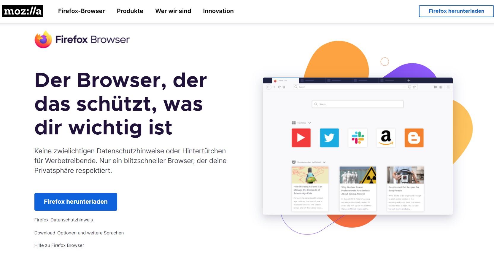 Zu sehen ist ein Screenshot der Produktseite von Mozilla Firefox. Es geht um die Frage: Welcher Browser ist der sicherste? Bild: Screenshot