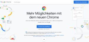 Zu sehen ist ein Screenshot der Produktseite von Google Chrome. Es geht um die Frage: Welcher Browser ist der sicherste? Bild: Screenshot