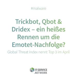 """Zu sehen ist eine Grafik, die Trickbot, Qbot und Dridex als """"most wanted malware"""" aufführt. Bild: IT-SERVICE.NETWORK"""