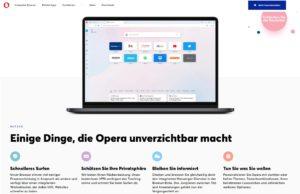 Zu sehen ist ein Screenshot der Produktseite von Opera. Bild: Screenshot