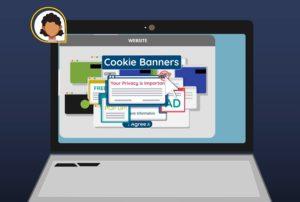 Zu sehen ist eine Grafik; sie zeigt einen Laptop mit zahlreichen aufgeploppten Cookie-Bannern. Diese sollen durch ein Brwoser-Signal ersetzt werden. Bild: Screenshot noyb