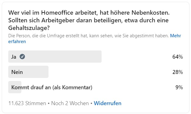 Zu sehen ist eine Umfrage zur Frage nach einem Home-Office-Zuschlag. Bild: LinkedIn