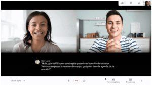Zu sehen ist der Screenshot eines Google-Meet-Meetings mit aktivierten Live-Untertiteln. Bild: Google