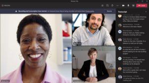 Zu sehen ist der Screenshot einer Microsoft-Teams-Besprechung. Die Live-Untertitel erscheinen bei Teams rechts in einer Transkript-Spalte. Bild: Microsoft