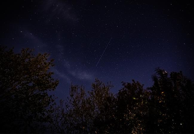 Su sehen ist ein Nachthimmel mit Starlink-Satelliten. Bild: Unsplash/Andy Holmes