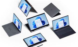 Zu sehen sind Convertible-Notebooks mit einer zentralen Taskleiste unter Windows 11. Bild: Microsoft
