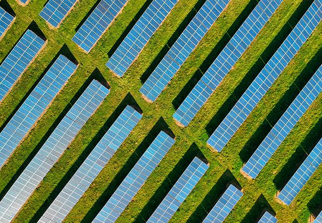 Aus der Vogelperspektive sind Solarzellen auf einem grünen Feld zu sehen. Durch Green IT kann die gewonnene Energie anderen Nutzungen weggenommen werden. Bild: Pexels/Red Zeppelin