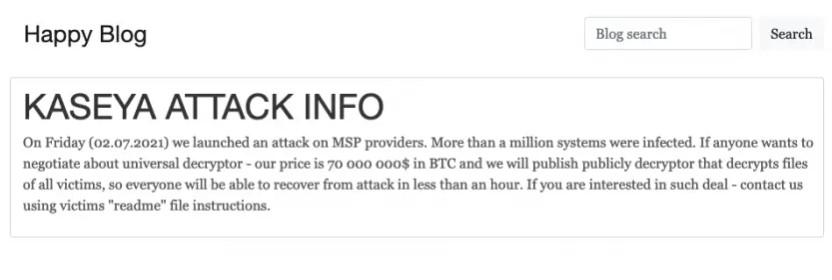 Zu sehen ist ein Screenshot des Angebots der REvil-Hackergruppe. Bild: heise